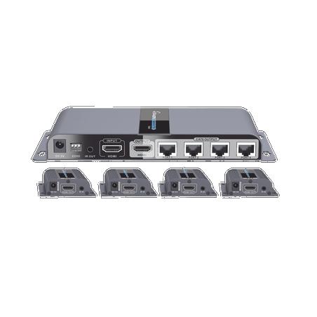 Kit completo Distribuidor HDMI 1 X 4 Splitter HDMI Extensor de HDMI Extender HD por UTP 1 UTP 2 en 1