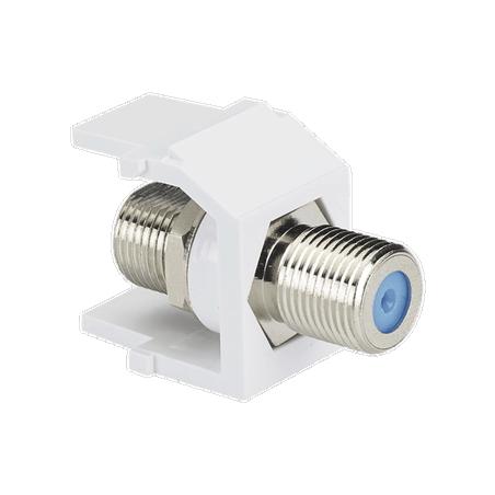 Módulo Acoplador Coaxial Tipo F, Keystone, de 75 Ohms, 3.0 GHz, Color Blanco Jack coaxial Tipo F