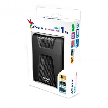 Disco duro externo Adata DashDrive Durable HD650 AHD650-1TU3 1TB negro