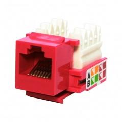 Jack RJ45 Cat6 - Rojo de impacto Jack cat6 s/herramienta Keystone Rojo Jack RJ45 Cat6 Conector Hembra red UTP