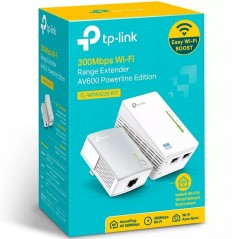 Kit Adaptador PowerLine Inalámbrico 300Mbps, 2 Puertos 10/100 Mbps, HomePlug AV, Plug and Play, WiFi Clon