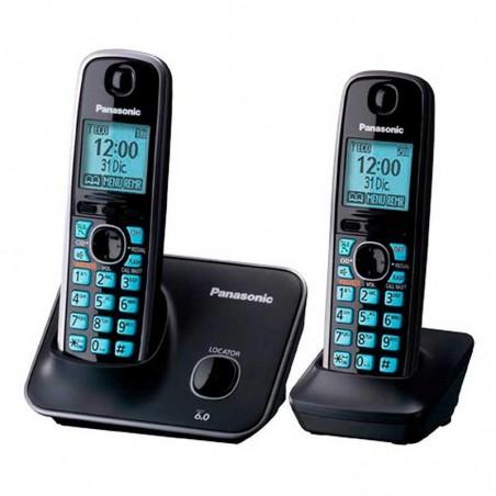 Teléfono inalámbrico Panasonic KX-TG4112 negro Teléfono portátil de casa Kit de 2 teléfonos con base