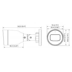 Camara IP Bullet 2 MP 2 Megapixel Lente de 2.8mm Angulo de 104° R DE 30 Mts IP67 PoE