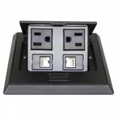 Panel de Conectores para escritorio Panel para escritorio 2AC / 2 RJ45 Cat6 Panel para Mesa Multicontacto para Mesa