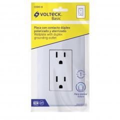 Contacto Duplex, 2 Polos + Tierra, Volteck Volteck 25076 Kit de contacto doble con placa de pared electrico