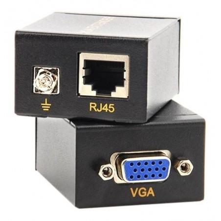 Mini Extensor Vga Utp 60m Rj45 Cat 5e 6 Plug And Play Extensor de VGA por UTP Extender de DB15 hasta 60 metros