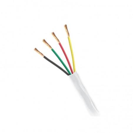 (Venta x Metro) Cable de 4 conductores para alarmas y dispositivos de notificación, color blanco, calibre 22 AWG Uso INTEMPERIE