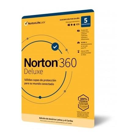 Licencia de Antivirus Norton 360 Deluxe Personal 5 Dispositivos Antivirus para Computadora 1 año de licencia de antivirus