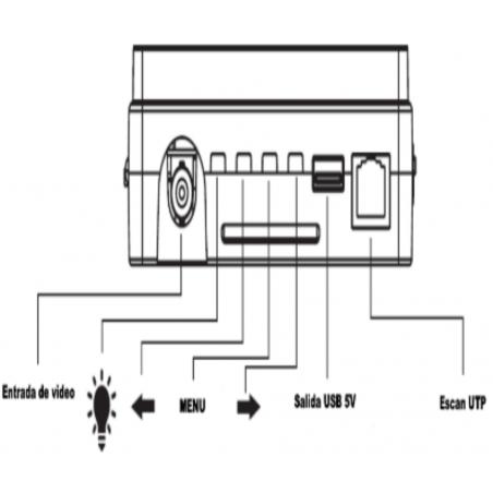 Probador de video de pulsera hasta 5MP Pantalla de 4 pulgadas Bateria 2.6AH Voltaje de salida 12V a 0.5 Amperes
