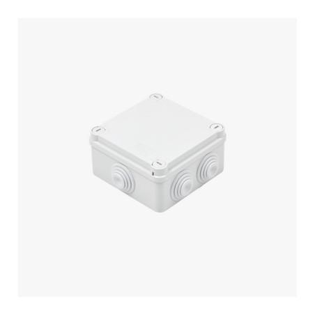Caja de derivación de PVC Auto-extinguible con 6 entradas 100x100x50 MM Caja para Exterior de plastico PVC