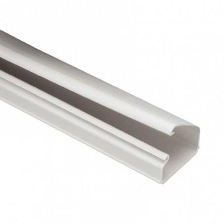Canaleta LD10 de PVC rígido, con cinta adhesiva para instalación sin herramientas, de 38.4 x 24 x 1828.8 mm, Color Blanco Mate