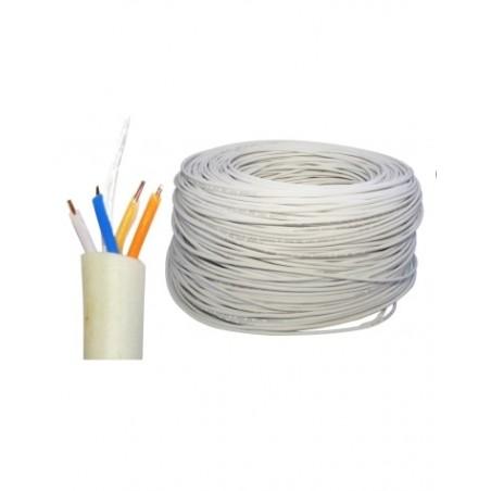 Cable UTP Cat5e 2 pares 4 Hilos para CCTV Blanco 300 Metros Bobina de Cable UTP 4x22 Cable Blanco calibre 22