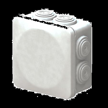 Caja de derivación de PVC Auto-extinguible con 6 entradas, tapa atornillada, 100x100x50 MM