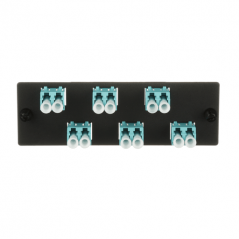 Placa Acopladora de Fibra Optica FAP, Con 6 Conectores LC Duplex (12 Fibras), Para Fibra Multimodo OM3/OM4, Color Aqua