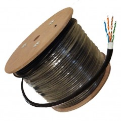 Cable UTP para Exterior Cat6 Bobina de Cable para Exterior Cat6 Bobina de Cable doble Forro Negro 8 Hilos Netzys