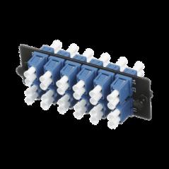 Placa Acopladora de Fibra Optica FAP, Con 12 Conectores LC Duplex (24 Fibras), Para Fibra Monomodo OS1/OS2, Color Azul