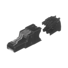 Plug RJ45 UTP, Instalación Recta, Terminación en Campo Certificable, Compatible con Cat5e, Cat6 y Cat6A, Color Negro