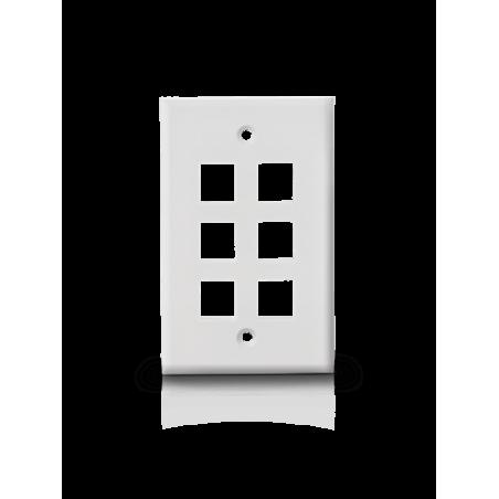 Placa de Pared RJ45 6 Puertos Faceplate Blanca de 6 Salidas Netzys placa de Pared Blanca de 6 Salidas