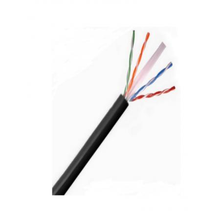 Cable UTP 100% cobre Categoria 6 Color negro Exterior 150 Metros AWG 23 4 pares Bobina de Cat.6 Exterior