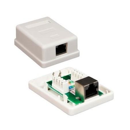 Roseta para Pared de 1 puerto RJ45 Cat5e Para Pared Telefonia UTP Keystone Cat5e Jack con caja para pared