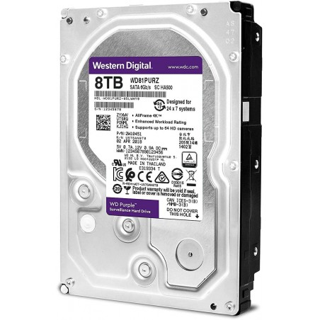 Disco duro WD de 8TB / 7200RPM / Optimizado para Videovigilancia Disco duro de 8 Teras Disco Western Digital Disco WD 8 TB