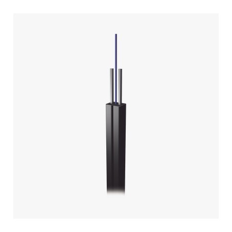 Carrete de 1 km de Fibra Óptica Drop, Interior/Exterior G.657A2 Monomodo de 2 hilos, Dieléctrica, Forro Negro