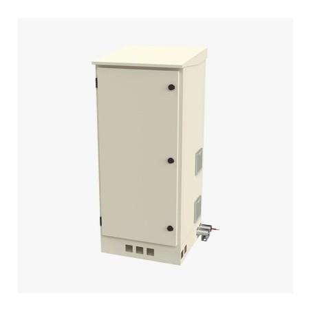 """Gabinete de Piso para Exterior con Ventiladores y Termostato con Rack de 19"""" de 16 U + Espacio para Baterías."""