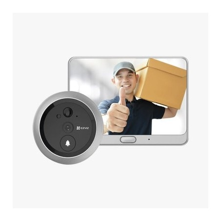 Timbre Con Mirilla y Pantalla Wi-Fi de Batería Recargable / Para Instalarse en Puerta / Cámara 720P / Sensor PIR