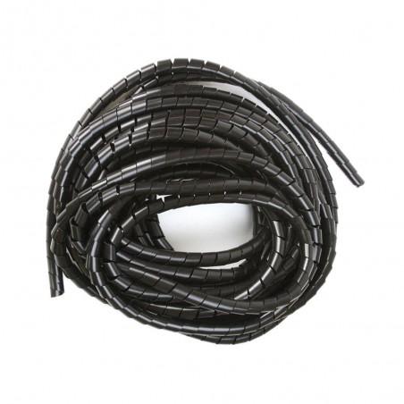 """Espiral Negro Agrupa Cables Orgnizador De Cables 1"""" Rollo De 10 Metros Organizador De Cables En Espiral De 1 Pulgada Negro"""