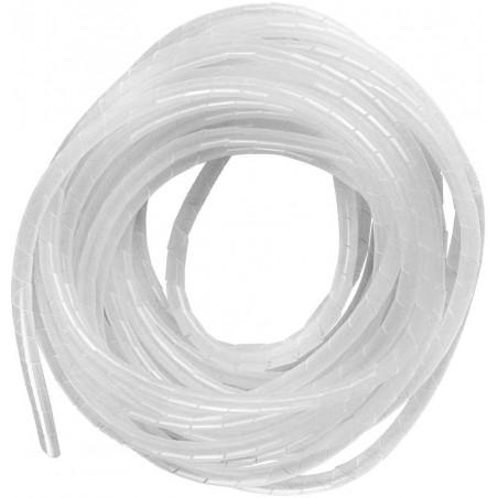 "Espiral Blanco Agrupa Cables Orgnizador de Cables 1/4"" Rollo de 10 Metros Organizador de Cables en Espiral de 1/4 Blanco"