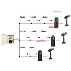 Convertidor de energia a 12V 2 A MP Entrada de voltaje 24V AC Recomendable para alimentacion de camaras CCTV a larga distancia