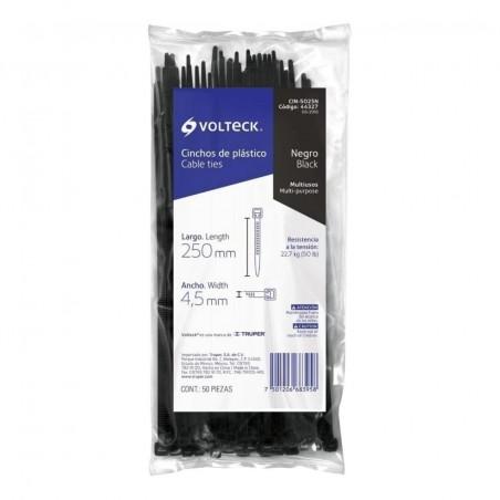 Cincho Plástico, 50 Lb, 25 Centímetros CM con 50 Pzas Cincho Negro plástico para Sujeta Cable de 25cm