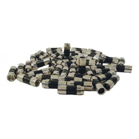 50 Conectores tipo F para cable de video de Televisión coaxial RG6 RG-6 Conector para Cable de Antena Aerea (Video de Tv, Izzi)