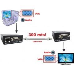 Extender VGA sobre UTP hasta 300 metros con Audio Extensor VGA xbox, laptop, computadora hasta 300 metros con cable UTP RJ45
