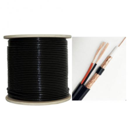 Cable Coaxial para Video CCTV RG59 con Cable electrico Cable Siames 305 Metros CCA Negro para exterior