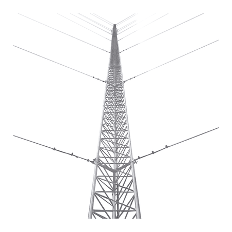 Kit de Torre Arriostrada de Techo de 21 m con Tramo TZ30 Galvanizado Electrolítico (No incluye retenida).