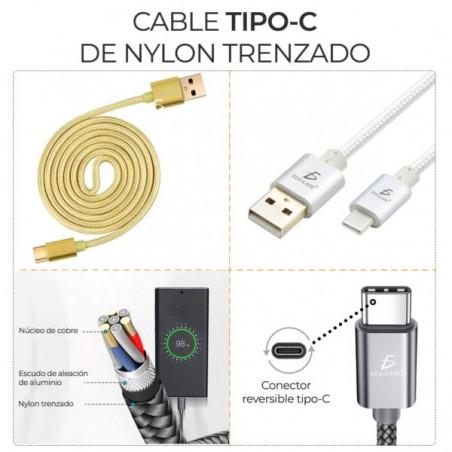 Cable usb usb tipo C Cable para celular con entrada tipo C Reforzado con nylon 1.5 Metros Cable para cargar celular
