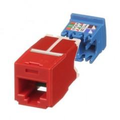 Conector Jack RJ45 Estilo TG, Mini-Com, Categoría 6A, de 8 posiciones y 8 cables, Color Rojo