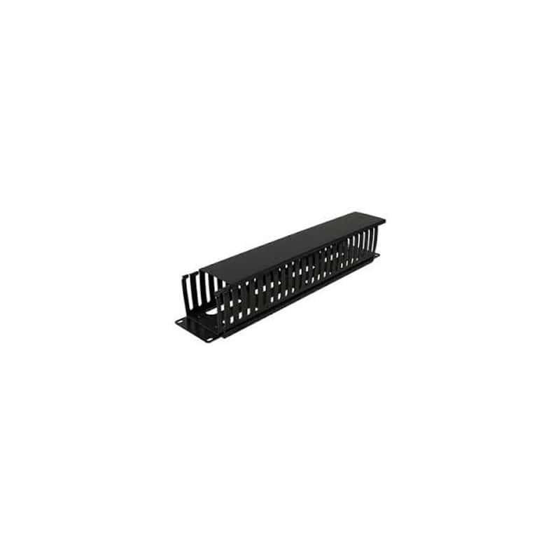 """Orgnizador de Cable Horizontal de Plastico Metalico Organizador de 2 ur Organizador de 2 Unidades para Rack de 19"""" Negro"""