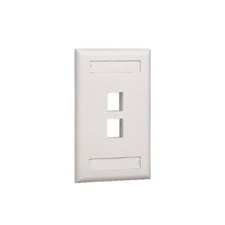 Placa de Pared Vertical, Salida Para 2 Puertos Keystone, Con Espacios Para Etiquetas, Color Blanco Mate