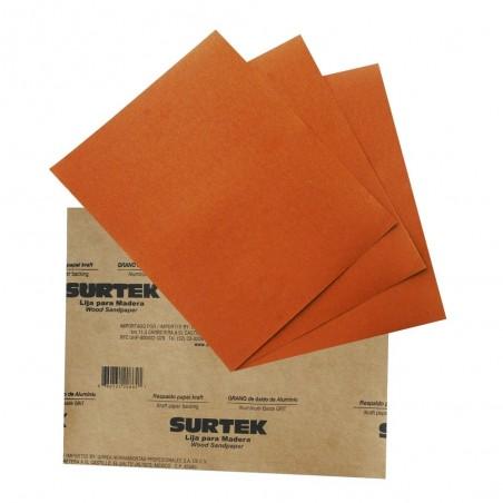 (Venta por pieza) Lija para madera del numero 100 Lija de madera lija gruesa naranja Lija de 100
