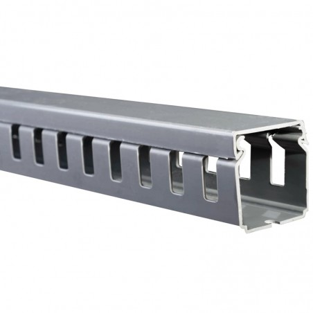 Canaleta Ranurada 40x40x2000mm Orgnizador para Cable Organizador de Cable Vertical Canaleta de PVC con ranura color GRIS