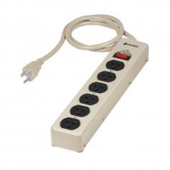 Barra Multicontactos de Acero de 6 contactos Barra tipo para Rack Barra de contactos con supresor de picos regulador
