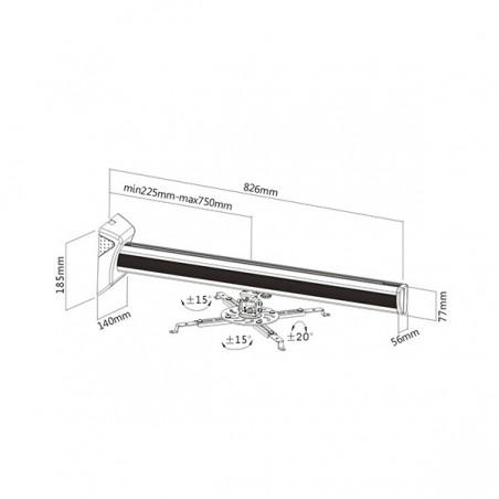 Soporte para proyector Universal Soporte Ajustable Para Cañon Proyector De Pared 22-75cm Soporte Universal Proyector