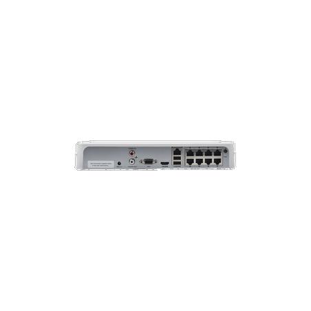 NVR 4 Megapixel / 8 Canales IP / 8 Puertos PoE+ / 1 Bahía de Disco Duro / Salida en Full HD NVR para camaras IP