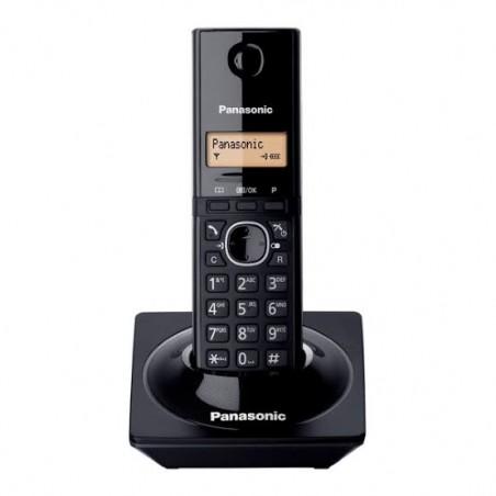 Teléfono inalambrico PANASONIC Telefono Negro con pantalla LCD Recargable de pilas