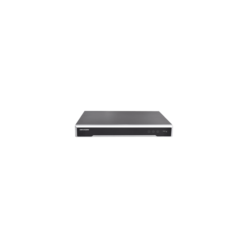 NVR 8 Megapixel (4K) / 16 canales IP / 16 Puertos PoE+ / 2 Bahías de Disco Duro / Switch PoE 300 mts / HDMI en 4K