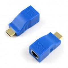 Extensor HDMI por 1 UTP RJ45 Pasivo Hasta 30 Metros Extensor FULL HD Azul por 1 Cable de red