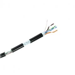 Bobina de cable de 305 Metros Cat6+ CALIBRE 23 Exterior Blindado tipo FTP para CLIMAS EXTREMOS, UL, color Negro