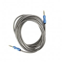 Cable Auxiliar Audio 3.5 Metalico 3 Metros Reforzado con aluminio Cable de Audio de 3 Metros 3.5mm